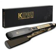 Lisseur KIPOZI - Fer à Lisser à Larges Plaques avec Ecran LCD à Chauffe Rapide (Noir)