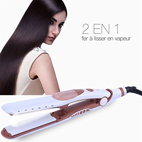 Lisseur vapeur 2 en 1 Tourmaline Pour Cheveux Soyeux Brillants