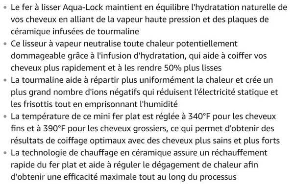 Lisseur Vapeur Aqualock Plaques Céramiques Tourmaline et Boucleur en 1 Spaire