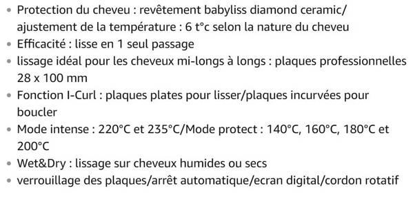 Lisseur Babyliss ST330E 2 en 1 Intense Protect