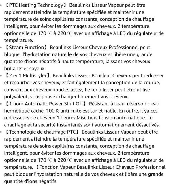 Lisseur Vapeur Beaulinks - Lisseur Boucleur Cheveux Violet Professionnel