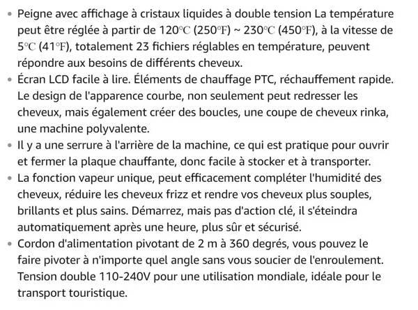 Fer à Lisser Vapeur, Lisseur Brosse à Vapeur Peigne, Avec Ecran LCD + Double Tension :110-240V + Température:120-230℃ + 1*Gant (Pour les Cheveux Secs/Humides) (A)