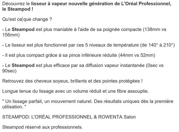 L'Oreal Expert Professionnel Steampod Professionnel Fer à Cheveux 200 g