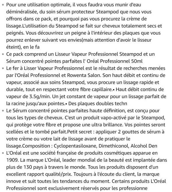 Lisseur Steampod 2.0 + Serum 50 ml L'Oréal Professionnel