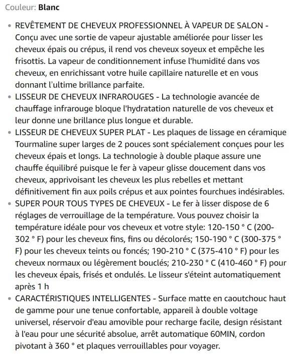 Lisseur Vapeur Megainvo Infrarouge Steampod 2'' Tourmaline Céramique