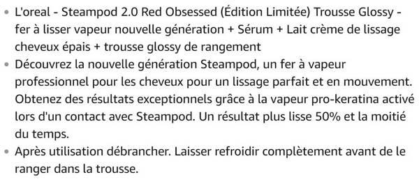 L'oreal Pack Red Obsessed (Édition Limitée) Trousse Glossy - lisseur vapeur nouvelle génération