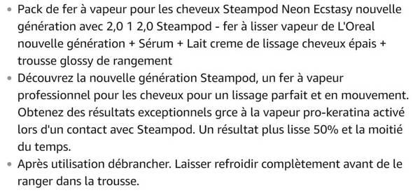 Lisseur vapeur L'oreal Pack Steampod 2.0 Neon Ecstasy Trousse Glossy nouvelle génération