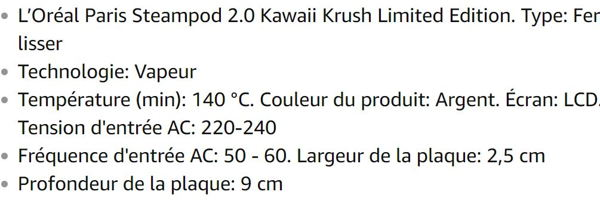 Lisseur vapeur L'Oréal Paris Steampod 2.0 Kawaii Krush LCD Argenté 140-210 °C
